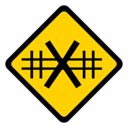 Railroad crossing rhomb warning flat