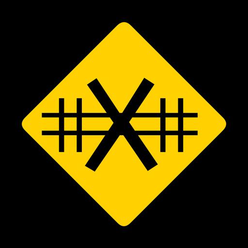 Cruce de ferrocarril advertencia de rombo plana Transparent PNG