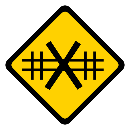 Railroad crossing rhomb warning flat Transparent PNG