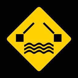 Río agua puente rombo advertencia plana
