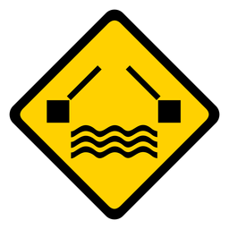 River water bridge rhomb warning flat