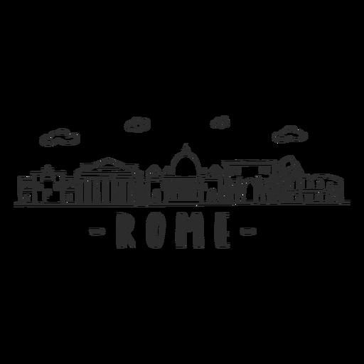 Pegatina del horizonte de la basílica de la columna del coliseo del arco del panteón de Roma Transparent PNG