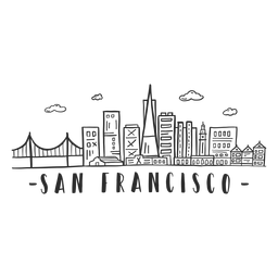San francisco bridge golden gate cathedral business center sky scraper mall cloud skyline sticker