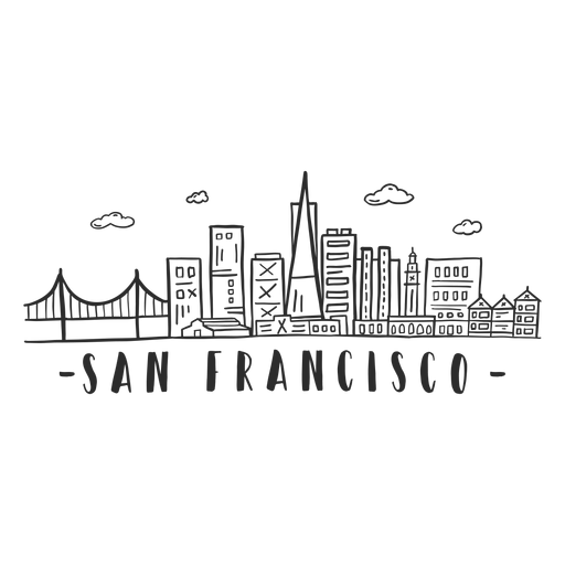 San francisco bridge sky scraper skyline sticker Transparent PNG