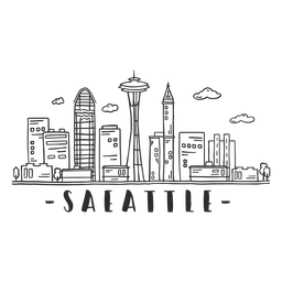 Seattle television tower skyline sticker
