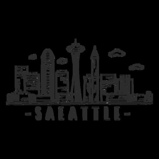 Adesivo de skyline de torre de televisão de Seattle Transparent PNG