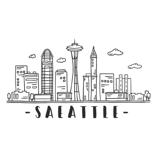 Seattle television tower skyline sticker Transparent PNG