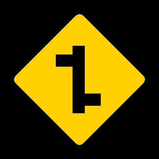 Carretera lateral izquierda derecha rombo advertencia plana Transparent PNG