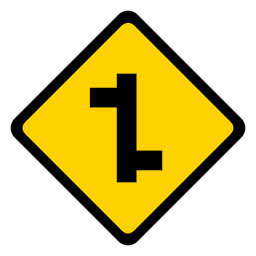 Side road left right rhomb warning flat Transparent PNG