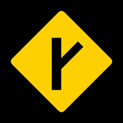 Side road rhomb warning flat Transparent PNG