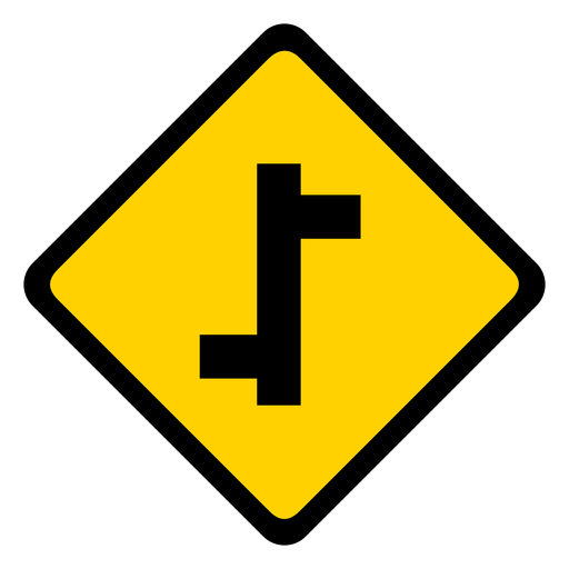 Side road right left rhomb warning flat Transparent PNG