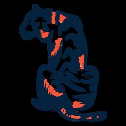 Sentado, ilustração tigre