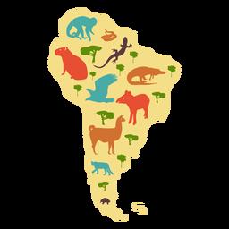 Mapa ilustrado da América do Sul