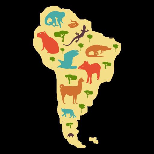 Mapa ilustrado de américa del sur