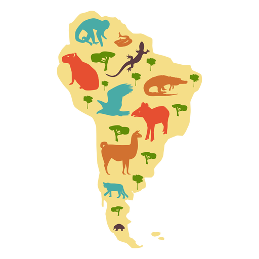 South america illustrated map Transparent PNG