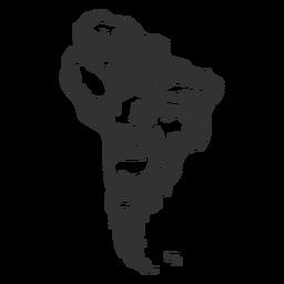 Silueta de mapa de américa del sur
