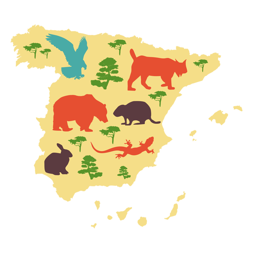 Spain illustrated map Transparent PNG
