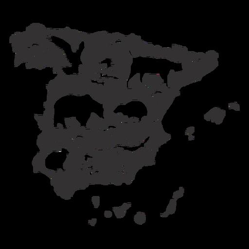 Silhueta de mapa de Espanha Transparent PNG