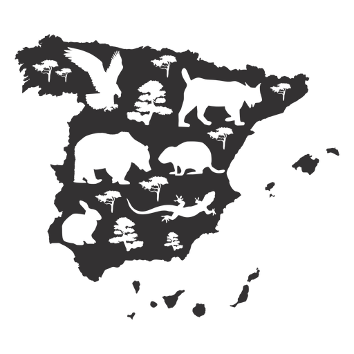 Spain map silhouette Transparent PNG