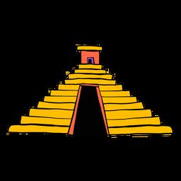 Bosquejo de color azteca de la pirámide del templo