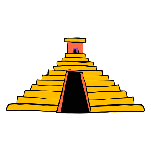 Templo pirámide color azteca color bosquejo Transparent PNG