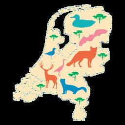 El mapa ilustrado de países bajos