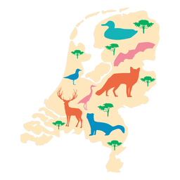 Mapa ilustrado de los países bajos