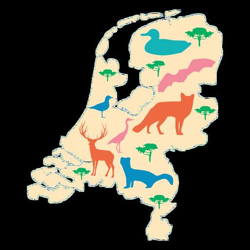 Países Baixos ilustrados mapa Transparent PNG