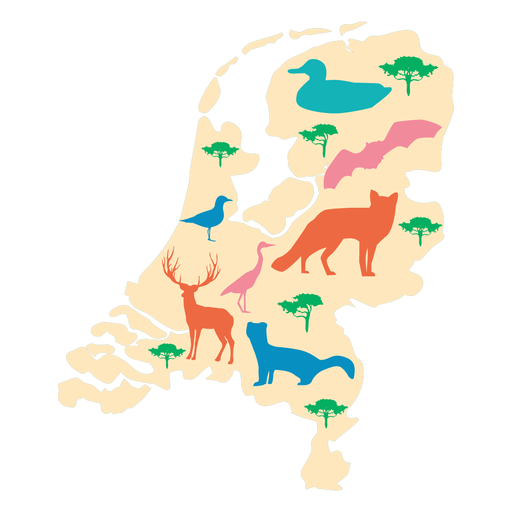 The netherlands illustrated map Transparent PNG