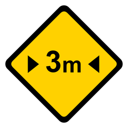 Advertencia de rombos de tres metros de ancho y tres metros de ancho.