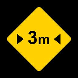 Três metros de três metros de largura rhomb aviso plano