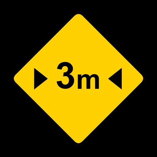 Advertencia de rombos de tres metros de ancho y tres metros de ancho. Transparent PNG