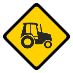 Tractor advertencia rombo plana