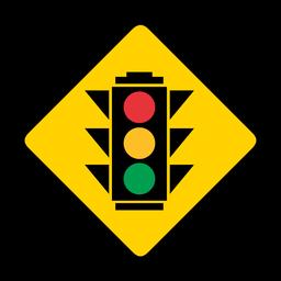 Semáforos círculo cor cor rhomb aviso plano