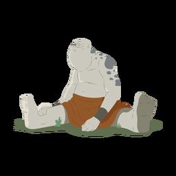 Troll prado enorme fuerte sentado negrita ilustración