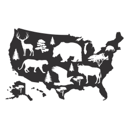 Usa animal map silhouette