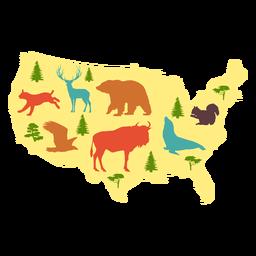 Mapa ilustrado dos EUA