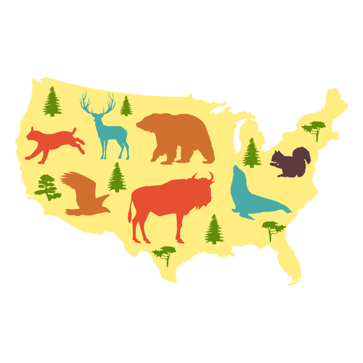 Usa illustrated map Transparent PNG