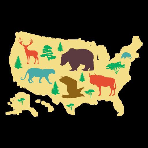 Ilustración de mapa de Estados Unidos Transparent PNG