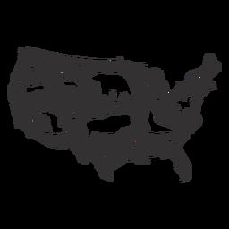 Mapa da silhueta dos EUA