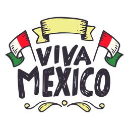 Viva mexico flag ribbon sticker