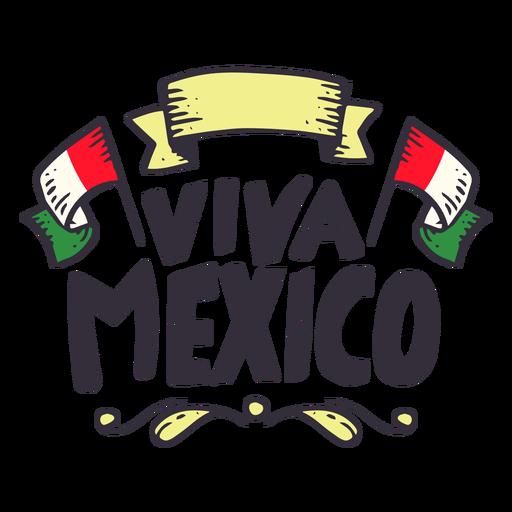 Pegatina cinta de la bandera de Viva México Transparent PNG