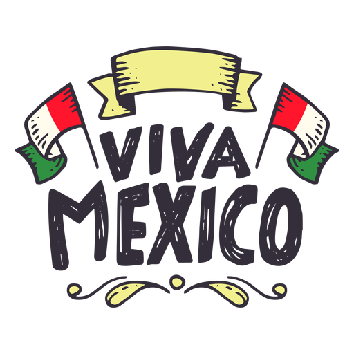 Viva mexico flag ribbon sticker Transparent PNG