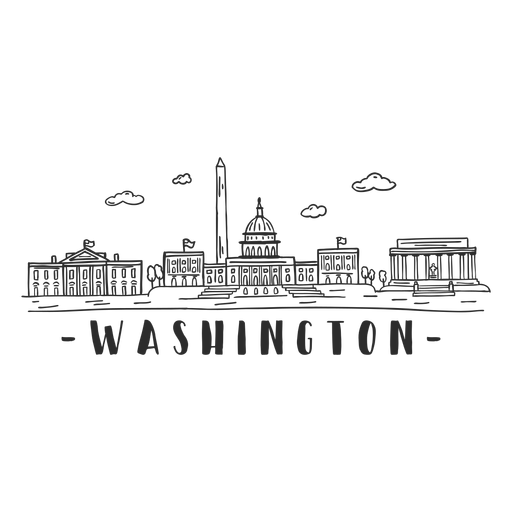 Washington white house lincoln memorial washington monument capitol dome cloud skyline sticker Transparent PNG