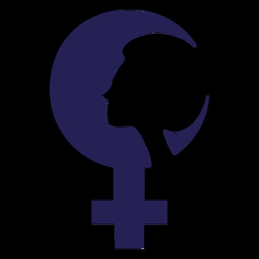 Icono de silueta de cara de día de la mujer