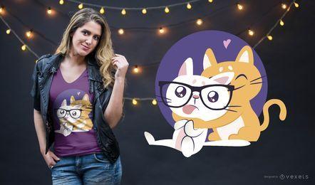 Diseño de camiseta nerd cat hug