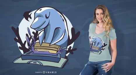 Diseño de camiseta con estampado de delfines.