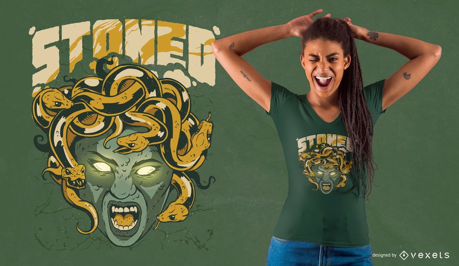 Entsteinter Medusa T-Shirt Design
