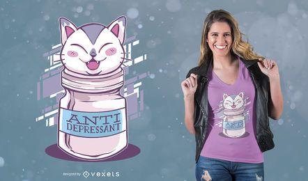 Diseño anti depresivo de la camiseta del gato