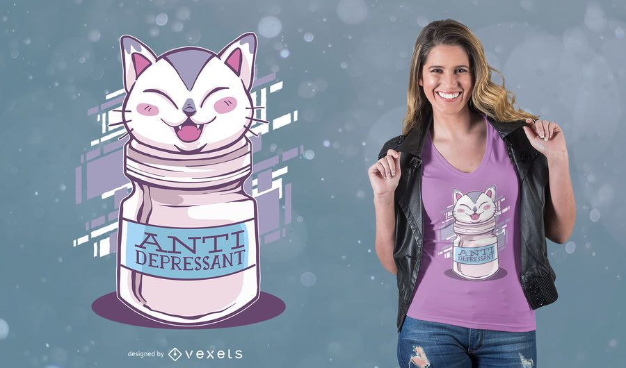 Design Anti-depressivo do t-shirt do gato